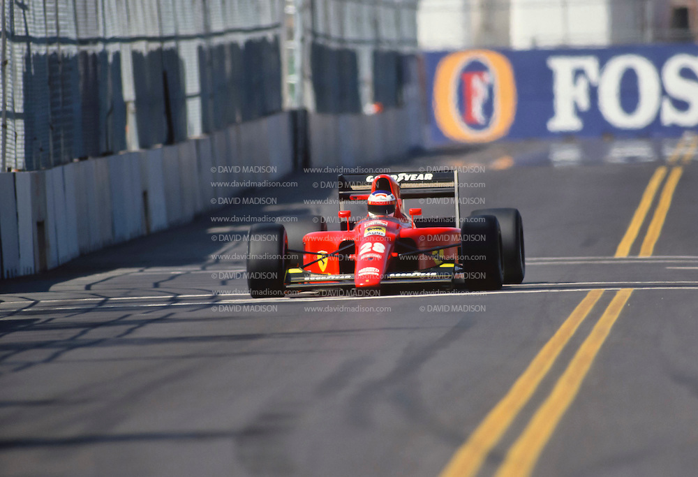 PHOENIX -  MARCH 10:  Jean Alesi, #28, drives his Ferrari team car during the 1991 Formula One US Grand Prix held on March 10, 1991 on a downtown street course in Phoenix, Arizona. (Photo by David Madison/Getty Images) *** Local Caption *** Jean Alesi