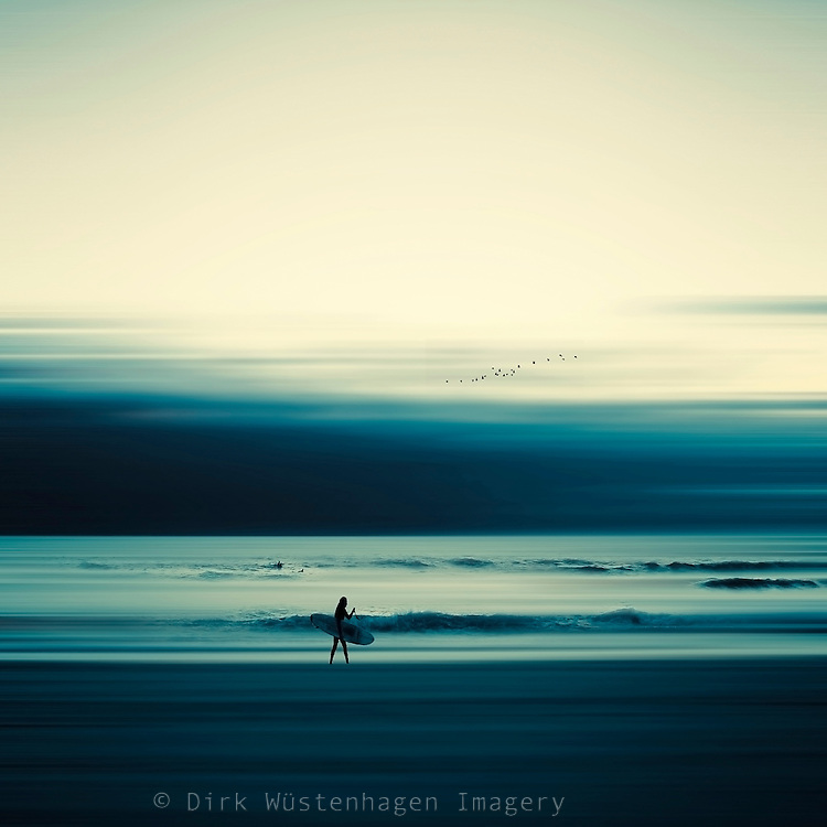Girl with surf board on the beach of Contis-plage, France - digitally manipulated photograph<br /> Prints: https://crated.com/art/126720/summer-tale-by-dirkwustenhagen