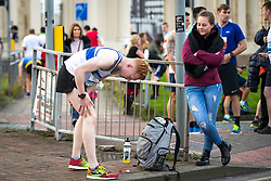 © Licensed to London News Pictures . 15/10/2017 . Manchester , UK . Athletes warm up and prepare ahead of taking part in the Greater Manchester Half Marathon in Old Trafford . Photo credit : Joel Goodman/LNP