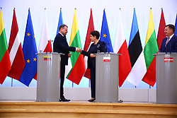 September 5, 2017 - Warsaw, Poland - Primer Beata Szydlo (M) held joint press conference with Latvian Prime Minister Maris Kucinskis (R) and Lithuanian Prime Minister Saulius Skvernelis (L) in Warsaw. (Credit Image: © Jakob Ratz/Pacific Press via ZUMA Wire)