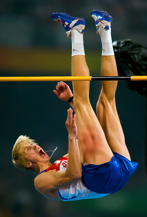 Andrey Silnov of Russia reacted to his clearance of the high jump bar at 2.42m, but the bar wobbled and came down. Despite the three misses at 2.42m. Silnov won the gold medal in the men's high jump at National Stadium on August 19, 2008 during the 2008 Summer Olympic Games in Beijing, China. (photo by David Eulitt / MCT)