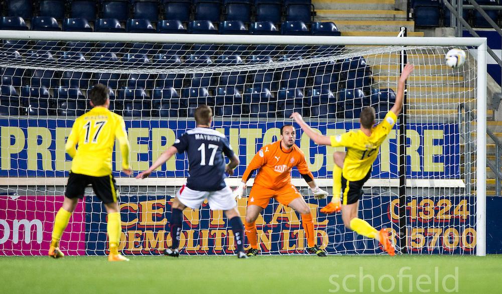 Falkirk's keeper Jamie MacDonald.<br /> Falkirk 0 v 0  Livingston, Scottish Championship game played 21/10/2014 at The Falkirk Stadium.