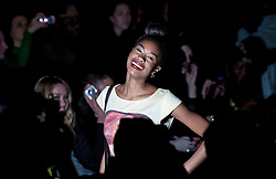 © Licensed to London News Pictures. 17/02/2012. London, UK.  Tallulah Adeyemi on the front row for Corrie Nielsen catwalk show by designer Corrie Nielsen for Autumn/Winter 2012 collection at Courtyard Show Space at London Fashion Week 2012. Photo credit : Ben Cawthra/LNP