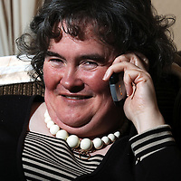 Susan Boyle's media interest continues. The Britain's Got Talent contestant from Blackburn, West Lothian became an overnight success with her performance of 'I Dreamed A Dream' from Les Miserables on the popular TV show...Pic shows Susan Boyle doing a phone interview with a magazine at her home in Yule Terrace, Blackburn, West Lothian on Friday 17th April 2009...Picture Richard Scott/Maverick