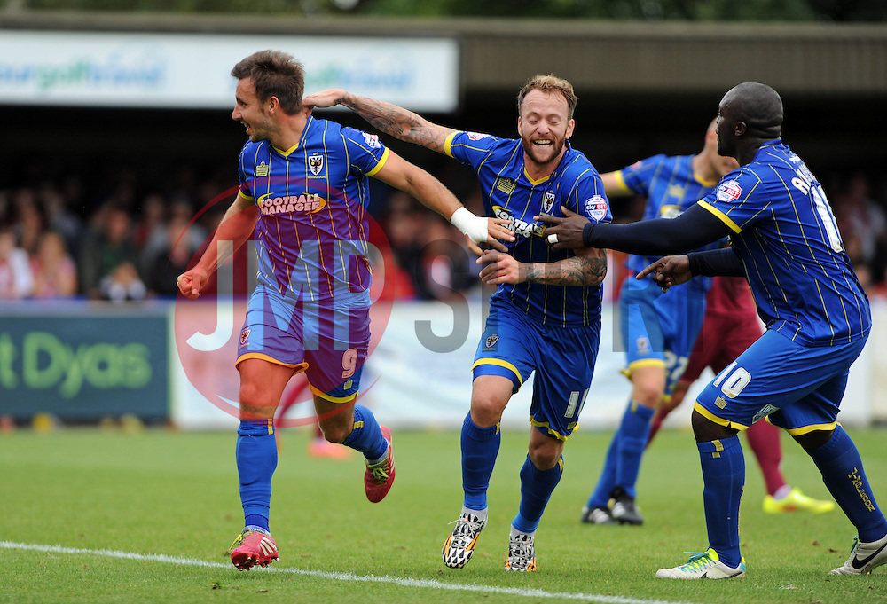 Wimbledon's Matt Tubbs celebrates scoring his sides first goal - photo mandatory by-line David Purday JMP- Tel: Mobile 07966 386802 - 30/08/14 - Afc Wimbledon v Stevenage - SPORT - FOOTBALL - Sky Bet Leauge 2 - London - The Cherry Red Stadium