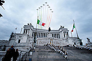 2013/03/17 Roma, cerimonia per il 151esimo anniversario dell'Unita' d'Italia. Nella foto le Frecce Tricolori sorvolano l'Altare della Patria.<br /> Rome, celebration for 151th anniversary of the Unification of Italy. In the picture Frecce Tricolori (reading Tricolor Arrows) acrobatic air patrol fly on Altar of the Fatherland - &copy; PIERPAOLO SCAVUZZO