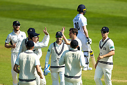 Tim Murtagh of Middlesex celebrates with teammates after taking the wicket of Luis Reece of Derbyshire - Mandatory by-line: Robbie Stephenson/JMP - 20/04/2018 - CRICKET - The 3aaa County Ground  - Derby, England - Derbyshire CCC v Middlesex CCC - Specsavers County Championship Division Two