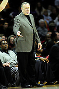 Feb. 23, 2011; Cleveland, OH, USA; Houston Rockets head coach Rick Adelman yells to his players during the fourth quarter against the Cleveland Cavaliers at Quicken Loans Arena. The Rockets beat the Cavaliers 124-119. Mandatory Credit: Jason Miller-US PRESSWIRE