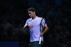 November 18, 2017 - London, England, United Kingdom - Roger Federer of Switzerland in action against David Goffin (7) of Belgium in their semi-final match today - Goffin def Federer 2-6, 6-3, 6-4 at O2 Arena on November 18, 2017 in London, England. (Credit Image: © Alberto Pezzali/NurPhoto via ZUMA Press)
