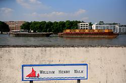 UK ENGLAND LONDON 5SEP13 - William Henry Walk sign at the Thames river near Nine Elms Lane, Vauxhall, central London.<br /> <br /> jre/Photo by Jiri Rezac<br /> <br /> © Jiri Rezac 2013