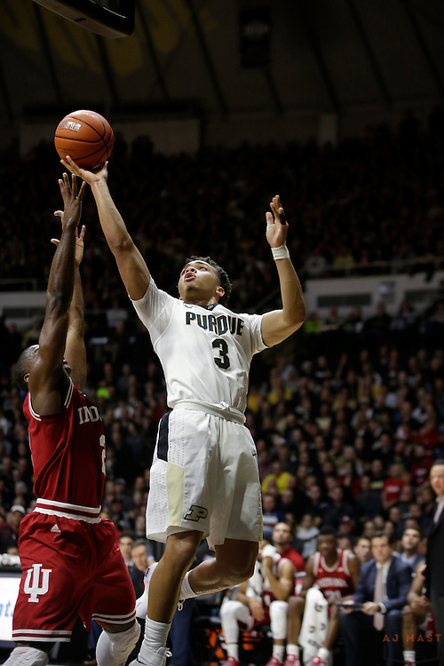Purdue guard Carsen Edwards (3) in action as Purdue played Indiana in an NCCA college basketball game in West Lafayette, Ind., Tuesday, Feb. 28, 2017. (Photo by AJ Mast)