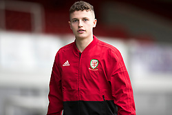 NEWPORT, WALES - Tuesday, October 16, 2018: Wales' Nathan Broadhead arrives ahead of the UEFA Under-21 Championship Italy 2019 Qualifying Group B match between Wales and Switzerland at Rodney Parade. (Pic by Laura Malkin/Propaganda)