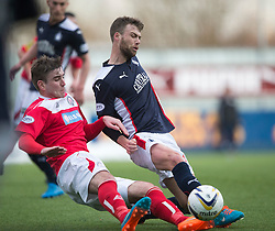 Brechin City&rsquo;s Darren McCormack and Falkirk's Rory Loy. <br /> Falkirk 2 v 1 Brechin City, Scottish Cup fifth round game played today at The Falkirk Stadium.
