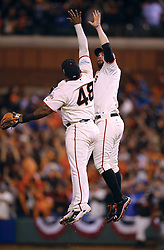 Pablo Sandoval and Branadon Belt celebrate after winning Game 4 of the World Series, 2014 World Series Champion Giants