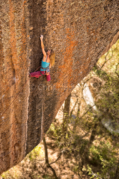 "Lisa Hathaway climbing ""The Jolly Roger"" rated 12d, Mill Creek Canyon Utah."