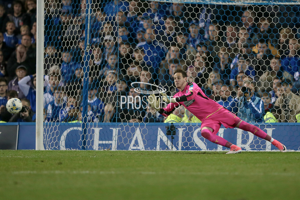 Huddersfield Town goalkeeper Danny Ward (1) saves Sheffield Wednesday's last penalty to put his side through to the final of the Championship play-offs during the EFL Sky Bet Championship play off second leg match between Sheffield Wednesday and Huddersfield Town at Hillsborough, Sheffield, England on 17 May 2017. Photo by Mark P Doherty.