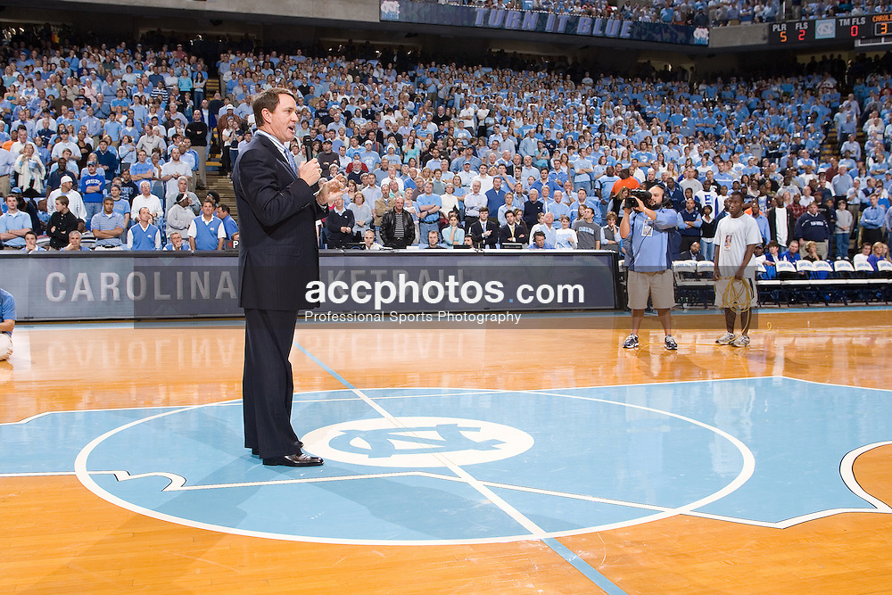 02 December 2006: Newly appointed North Carolina football head coach Butch Davis speaks to crowd during a 75-63 North Carolina Tar Heels victory over the Kentucky Wildcats at the Dean Smith Center in Chapel Hill, NC.<br />