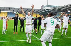 Players of Olimpija celebrate after winning during football match between NK Celje and NK Olimpija Ljubljana in 34th Round of Prva liga Telekom Slovenije 2015/16, on May 11, 2016, in Arena Petrol, Celje, Slovenia. Photo by Vid Ponikvar / Sportida