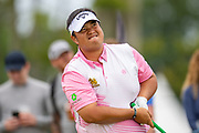 Kiradech Aphibarnrat (THA) looks concerned as he drives on the 16th hole during the third round of the Aberdeen Standard Investments Scottish Open at The Renaissance Club, North Berwick, Scotland on 13 July 2019.