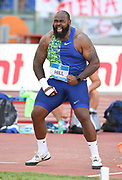 Darrell Hill (USA) celebrates after placinig second in the shot put at 71-2 3/4 (21.71m) during the 39th Golden Gala Pietro Menena in an IAAF Diamond League meet at Stadio Olimpico in Rome on Thursday, June 6, 2019. (Jiro Mochizuki/Image of Sport)