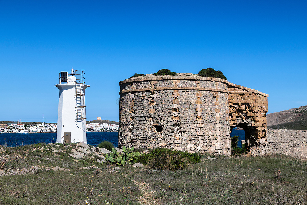 Lighthouse and ruin, Fornells, Menorca, Balearic islands, Spain.