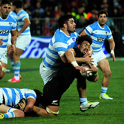 Ardie Savea is tackled during the Rugby Championship match between the NZ All Blacks and Argentina Pumas at Yarrow Stadium in New Plymouth, New Zealand on Saturday, 9 September 2017. Photo: Dave Lintott / lintottphoto.co.nz