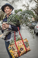 "Viticulturist and Calistoga resident Arielle Gardner makes a fashion statement while leaving the Calistoga Saturday Market with her purchases.  ""Someday I'd like to own a farm...overseas...maybe a vineyard."""