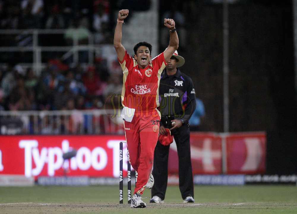 DURBAN, SOUTH AFRICA - 1 May 2009. Anil Kumble celebrates a wickets during the IPL Season 2 match between Kings X1 Punjab and the Royal Challengers Bangalore held at Sahara Stadium Kingsmead, Durban, South Africa...