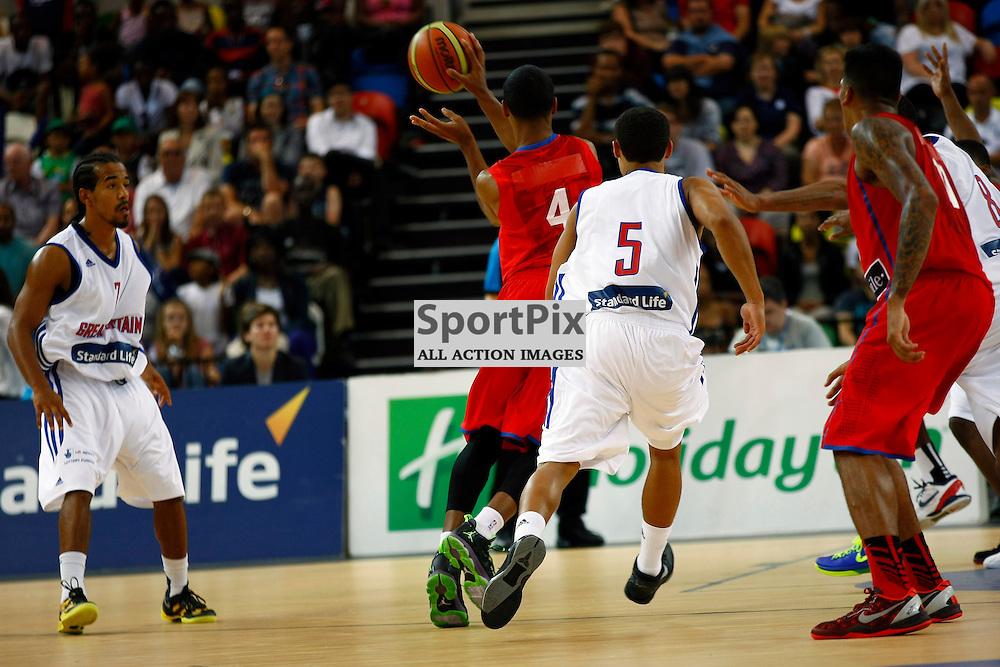 GB men vs Puerto Rico basketball at the Copper Box Arena. Jerzeel De Jesus (04) passes. 11/08/2013 (c) MATT BRISTOW