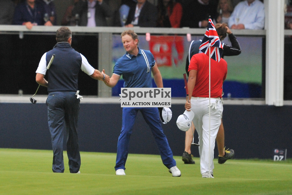 Lee Westwood  England, shakes hands with Jamie Donaldson Wales after finishing on the 18th,  British Masters, European Tour, Woburn Golf Club, 8th October 2015British Masters, European Tour, Woburn Golf Club, 8th October 2015