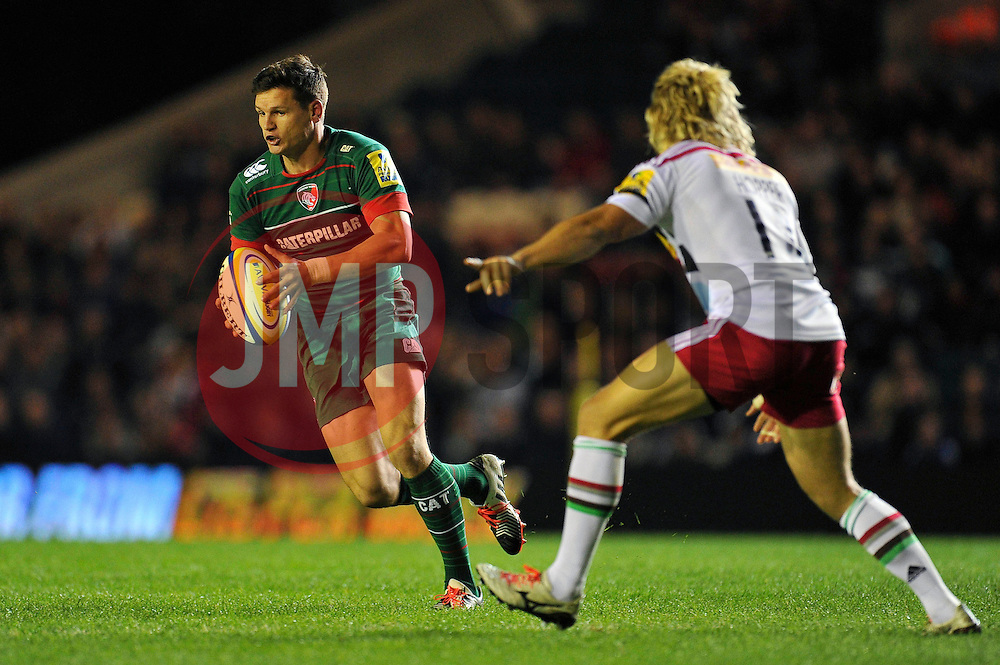 Freddie Burns of Leicester Tigers in possession - Photo mandatory by-line: Patrick Khachfe/JMP - Mobile: 07966 386802 10/10/2014 - SPORT - RUGBY UNION - Leicester - Welford Road - Leicester Tigers v Harlequins - Aviva Premiership