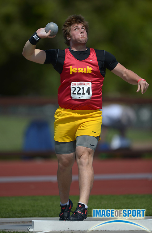 Apr 5, 2014; Stanford, CA, USA; Michael Titherington of Jesuit places second in the boys shot put at 59-0 (17.98m) in the 2014 Stanford Invitational at Cobb Track & Angell  Field.