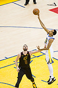 Golden State Warriors guard Shaun Livingston (34) shoots a jumper against the Cleveland Cavaliers during Game 1 of the NBA Finals at Oracle Arena in Oakland, Calif., on May 31, 2018. (Stan Olszewski/Special to S.F. Examiner)