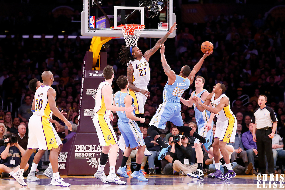 05 January 2014: Denver Nuggets power forward Darrell Arthur (00) goes for the lay up against Los Angeles Lakers center Jordan Hill (27) during the Denver Nuggets 137-115 victory over the Los Angeles Lakers at the Staples Center, Los Angeles, California, USA.