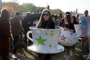 October 30, 2010 - Rally-goers dressed as teacups to protest the Tea Party at the Rally to Restore Sanity and/or Fear on the National Mall in Washington, D.C.  The rally attracted between 215,000 and 250,000 attendees.  (Photo by Rachel Offerdahl, COM/CAS '11)