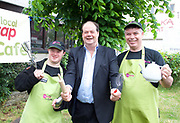 Stephen Hammond, Conservative parliamentary candidate for Wimbledon and the former parliamentary under-secretary of State for Transport is on the general election campaign trail in Wimbledon today (Monday 15th May 2017). <br /> <br /> Visiting the Merton Mencap Caf&eacute;, open every Monday at Holy Trinity Church in The Broadway it offers a range of healthy home-made dishes &amp; is run by adults with a learning disability, supported by Merton Mencap staff and volunteers. <br /> <br /> Hammond who has an 11,408 majority (24.1%) met some of the workers who have learning disabilities including George Cary, Richard Dorris, Anna Caldicott and Neil Weddell. <br /> <br /> <br /> <br /> pictured L to R:<br /> George Cary ; Stephen Hammond ; Richard Dorris <br /> <br /> Photograph by Elliott Franks <br /> Image licensed to Elliott Franks Photography Services