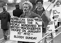 Bloody Sunday Protest March outside the British Embassy, Dublin, circa January 1988 (Part of the Independent Newspapers Ireland/NLI Collection).