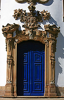 church door detail at the UNESCO world heritage city of Ouro Preto in Minas Gerais Brazil