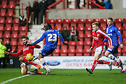 Gillingham's Bradley Dack trys to put in the rebound after his missed penalty during the Sky Bet League 1 match between Swindon Town and Gillingham at the County Ground, Swindon, England on 26 December 2015. Photo by Shane Healey.