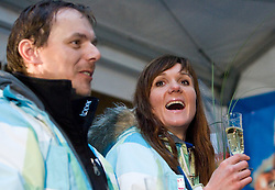 Ivan Hudac and Slovenian bronze medalist cross-country skier Petra Majdic at reception at her home town Dol pri Ljubljani after she came from Vancouver after Winter Olympic games 2010, on March 1, 2010 in Dol pri Ljubljani, Slovenia. (Photo by Vid Ponikvar / Sportida)