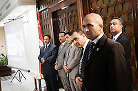 TUNIS, TUNISIA - 26 JULY 2013:  Tunisian Interior Minister Lotfi Ben Jeddou (left) listens to journalists' questions during a press conference at the Interior Ministry as the country marks a day of mourning after gunmen killed opposition figure Mohamed Brahmi in Tunis, Tunisia, on July 26th 2013.<br /> <br /> Tunisia, birthplace of the Arab Spring revolutionary movement, was plunged into a new political crisis on Thursday when assassins shot Mohamed Brahmi, 58, leader of the Arab nationalist People's Party, an opposition party leader outside his home in a hail of gunfire.