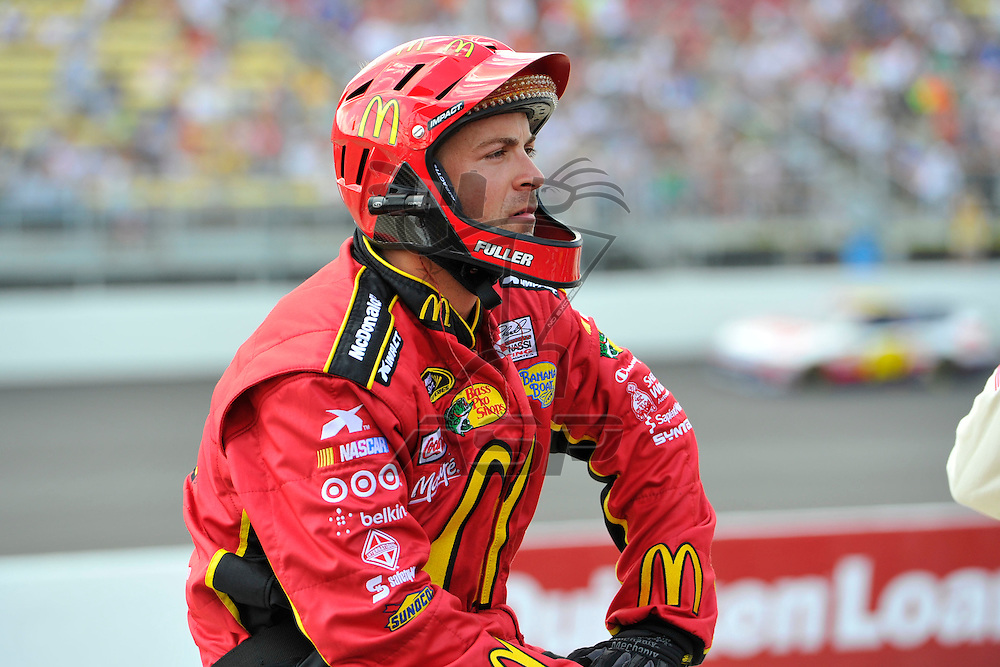 Brooklyn, MI - JUN 17, 2012: Jamie McMurray (1) crew members work on pit row during race action for the Quicken Loans 400 race at the Michigan International Speedway in Brooklyn, MI.