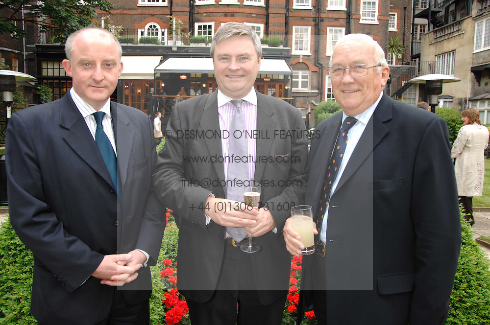 Left to right, MARK HINKS, Deputy Castle Superintendent at Windsor Castle, DAVID CAMPBELL BANNERMAN Deputy leader of UKIP and DICK TURPIN at a reception for the Friends of The Castle of Mey held at The Goring Hotel, London on 20th May 2008.<br /><br />NON EXCLUSIVE - WORLD RIGHTS