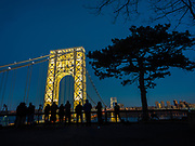 George Washington Bridge lit up on a major holiday