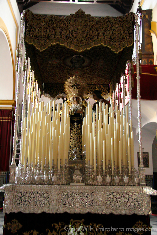 Europe, Spain, Seville. The  Basilica of the Macarena, housing statues and pasos for Semana Santa, including La Macerena Virgin Mary.