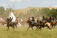Custers Last Stand Reenactment, Battle of the Little Bighorn, Montana, Warriors defeat Custer and 7th Cavalry