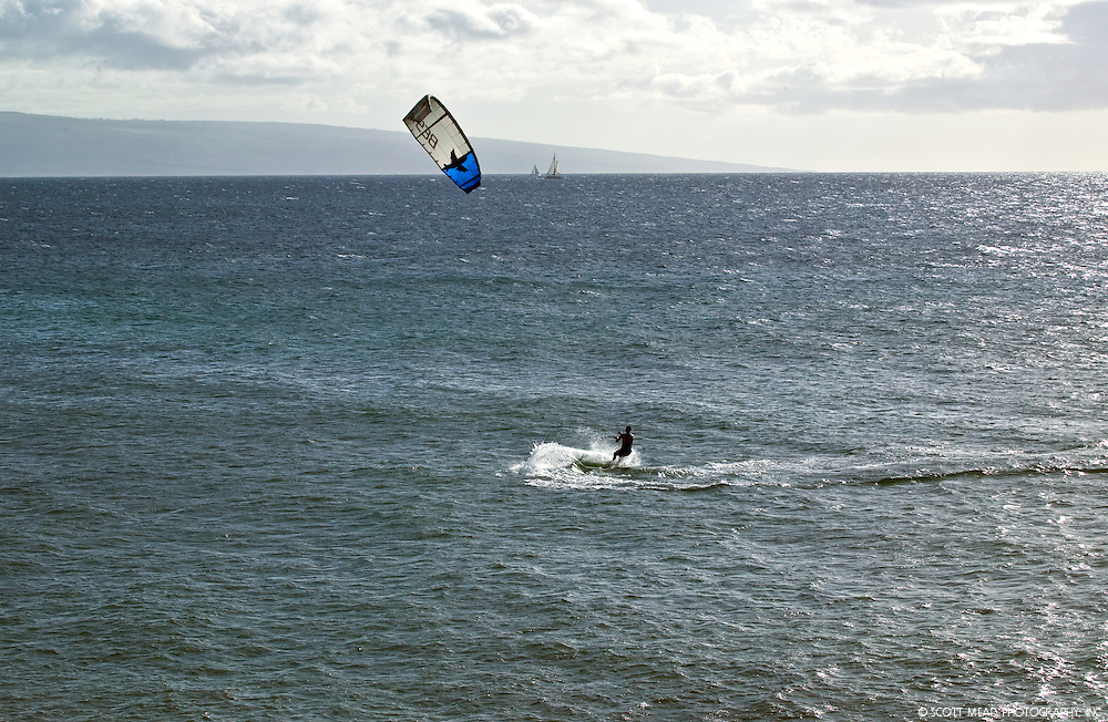 Kite Surfer on the North Shore of Maui, Hawaii