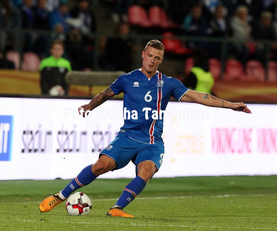 2.9.2017, Ratina Stadion, Tampere, Finland.<br /> FIFA World Cup 2018 Qualifying match, Finland v Iceland.<br /> Ragnar Sigurdsson - Iceland