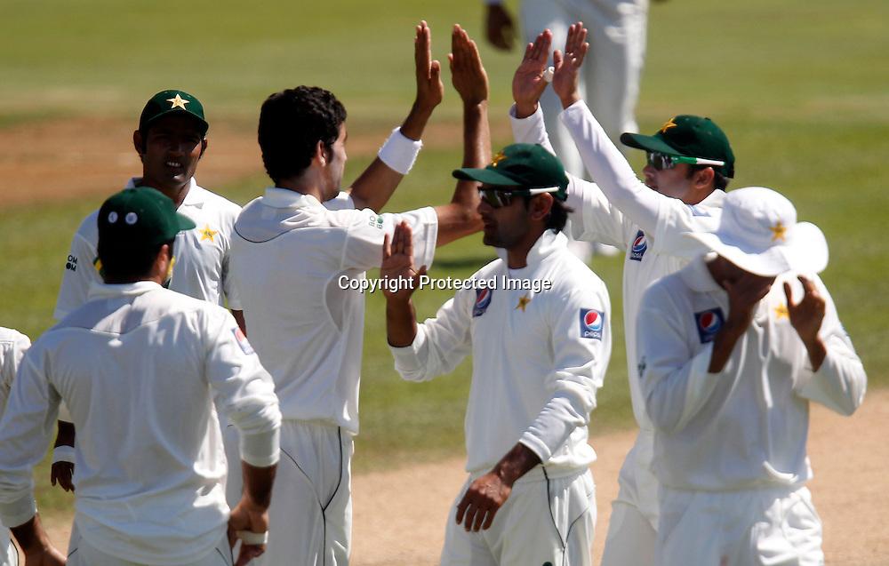 Pakistan celebrate taking a wicket. International Cricket, New Zealand XI v Pakistan, Day 2, Cobham Oval Whangarei, Monday 3rd January 2011. Photo: Shane Wenzlick / www.photosport.co.nz