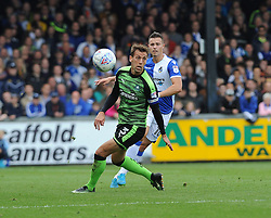 Billy Bodin of Bristol Rovers knocks the ball past Gary Sawyer of Plymouth Argyle - Mandatory by-line: Neil Brookman/JMP - 30/09/2017 - FOOTBALL - Memorial Stadium - Bristol, England - Bristol Rovers v Plymouth Argyle - Sky Bet League One